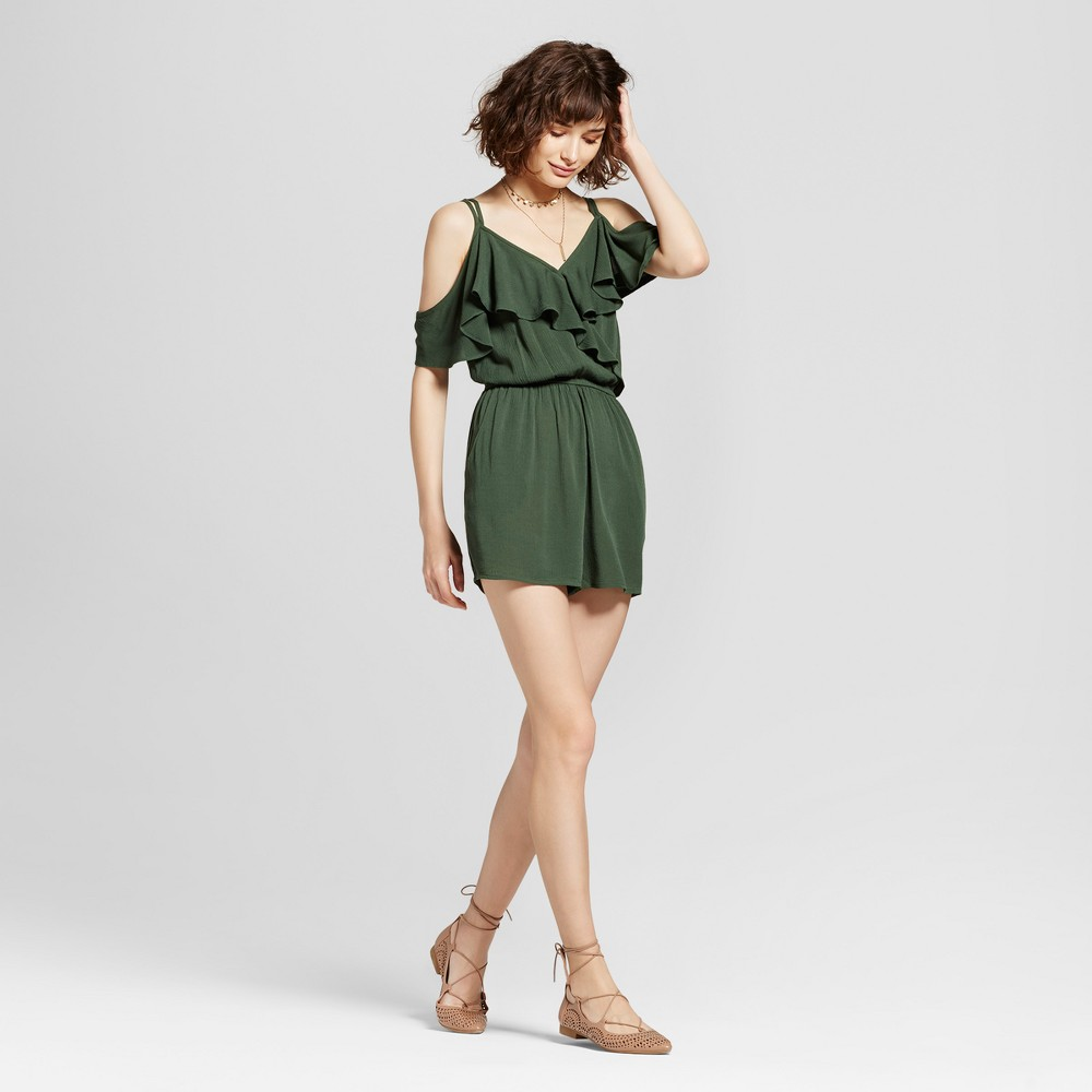 Womens Ruffle Surplice Cold Shoulder Romper - Xhilaration (Juniors) Olive (Green) M