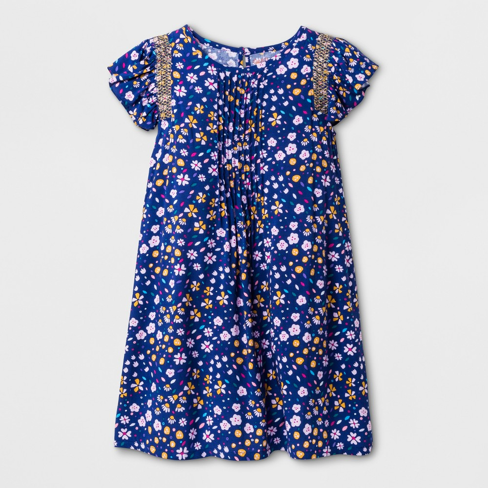 Girls' Floral Print Short Sleeve Woven Dress - Cat & Jack Blue M