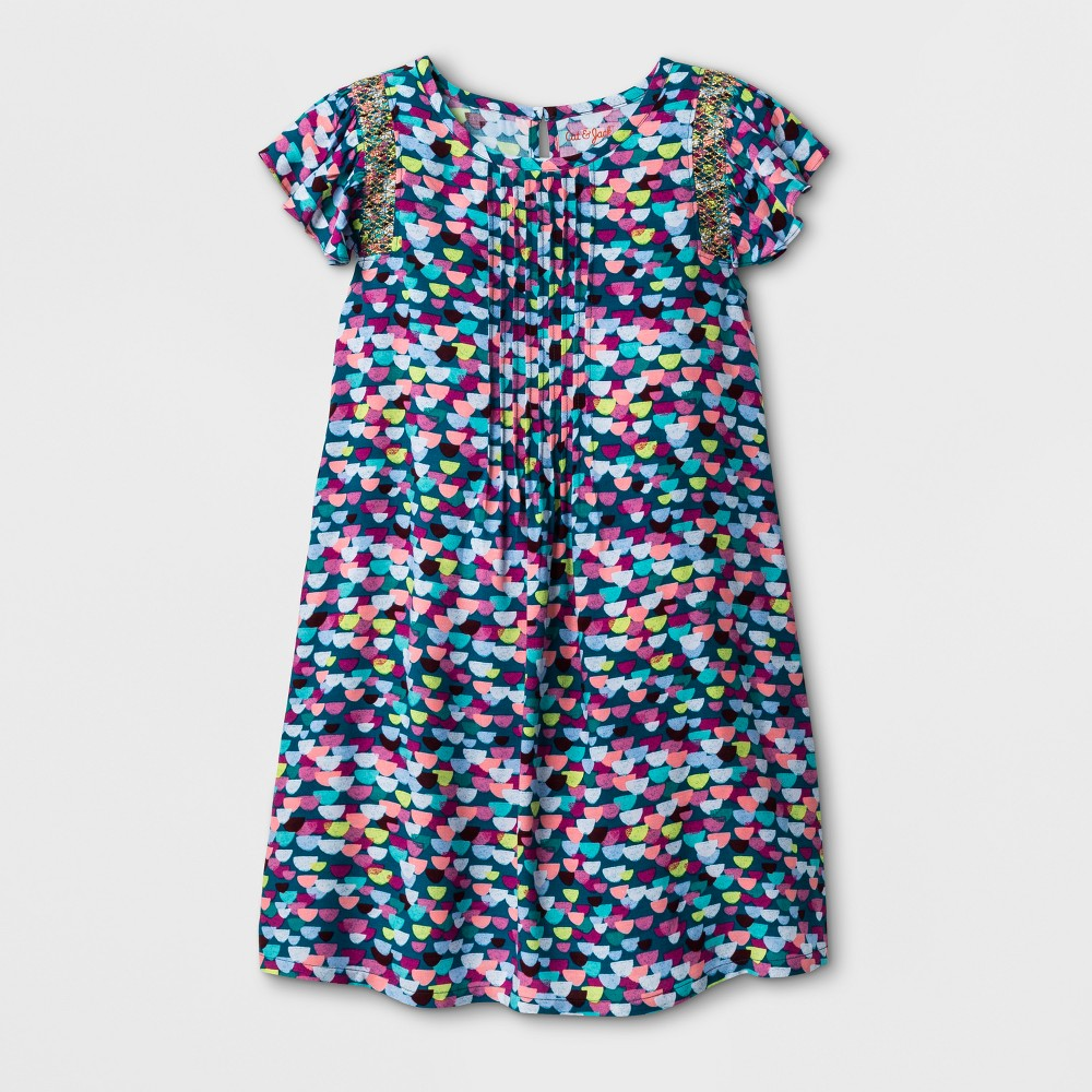 Girls Multi Color Print Short Sleeve Woven Dress - Cat & Jack Fiji Teal L