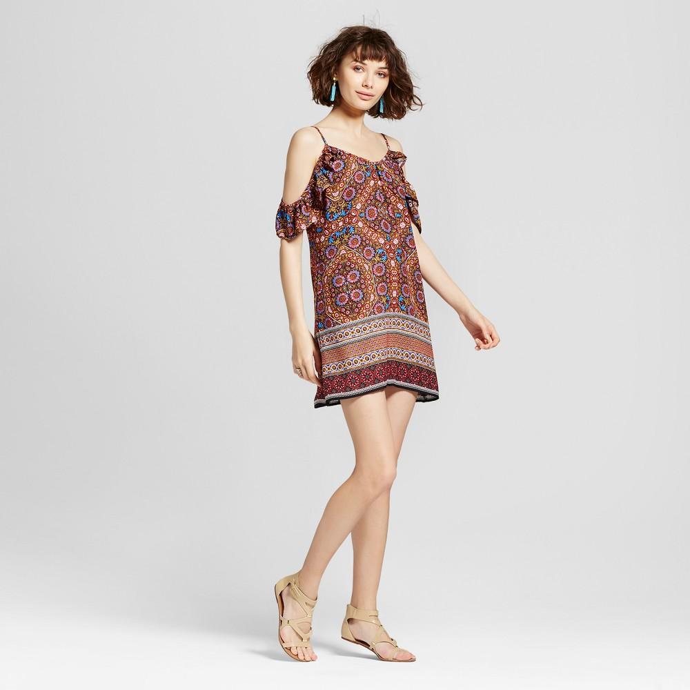 Womens Ruffle Sleeve Cold Shoulder Shift Dress - Xhilaration (Juniors) Gold L