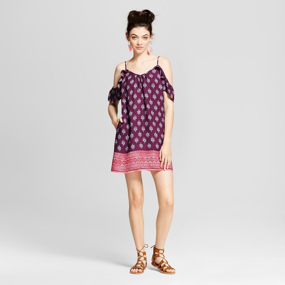 Womens Ruffle Sleeve Cold Shoulder Shift Dress - Xhilaration (Juniors) Purple L