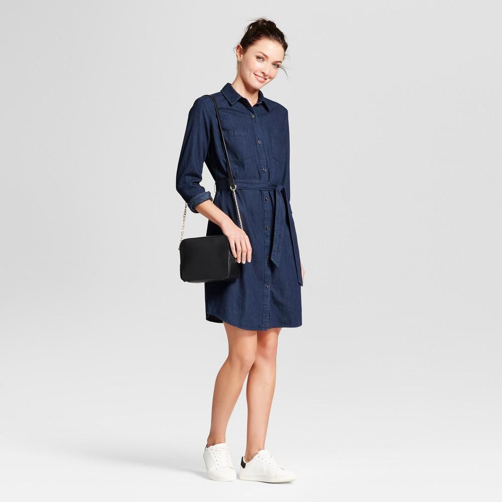 Womens Denim Shirt Dress - A New Day Dark Blue S