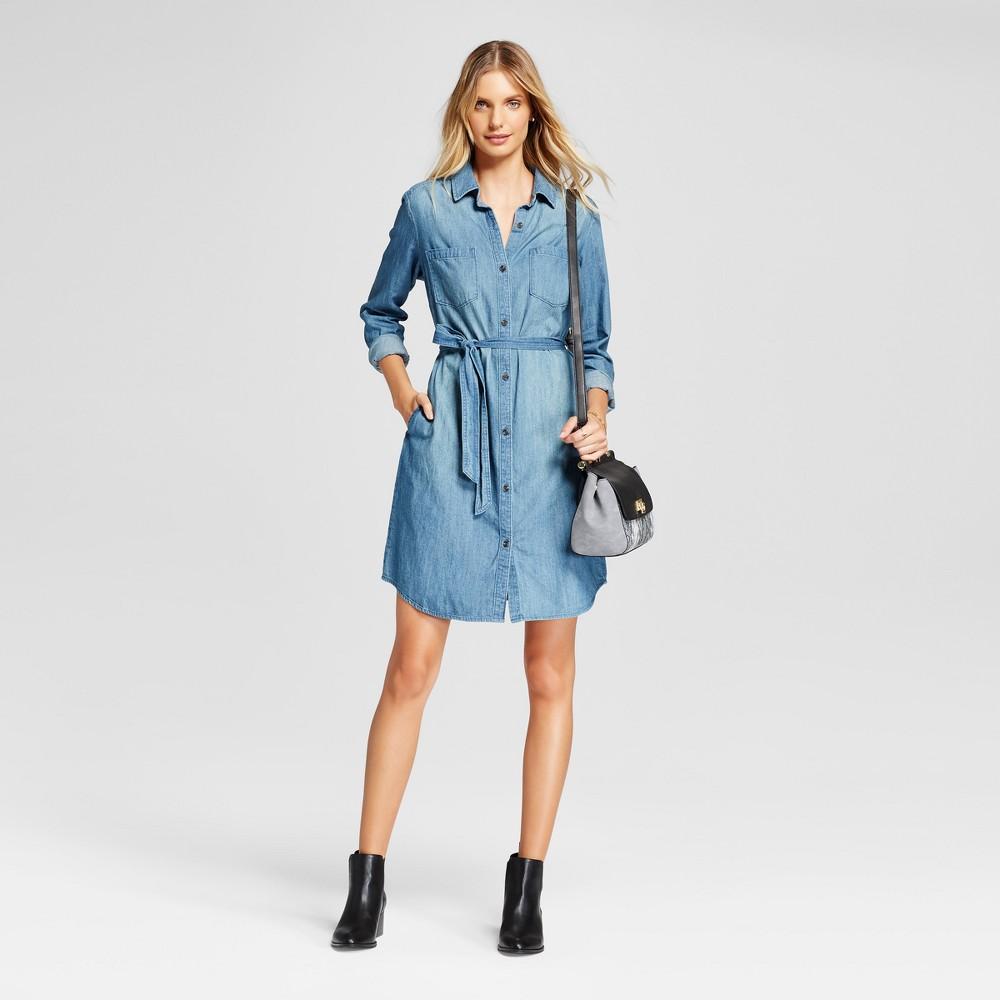 Womens Denim Shirt Dress - A New Day Blue XS