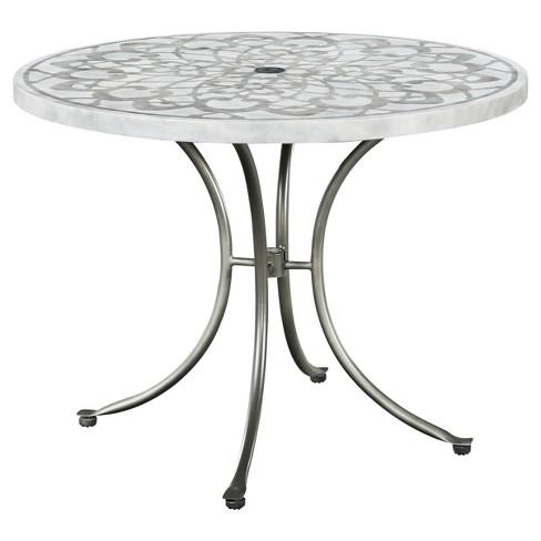 Capri Concrete Stenciled Round Outdoor Table - Gray - Home Styles - Capri Concrete Stenciled Round Outdoor Table - Gray - Home Styles