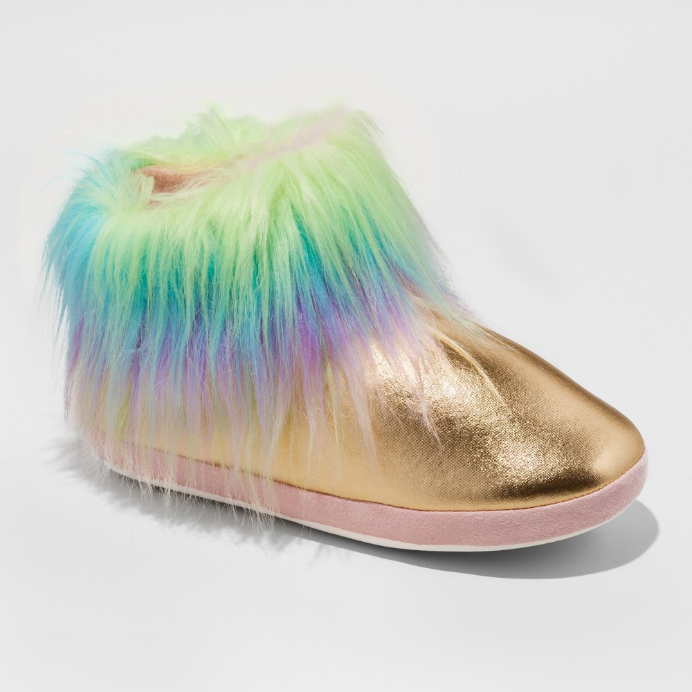 Womens Metallic Unicorn with Fixed Fur Cuff Slipper Boots - Xhilaration - L/XL (8-10), Multicolored