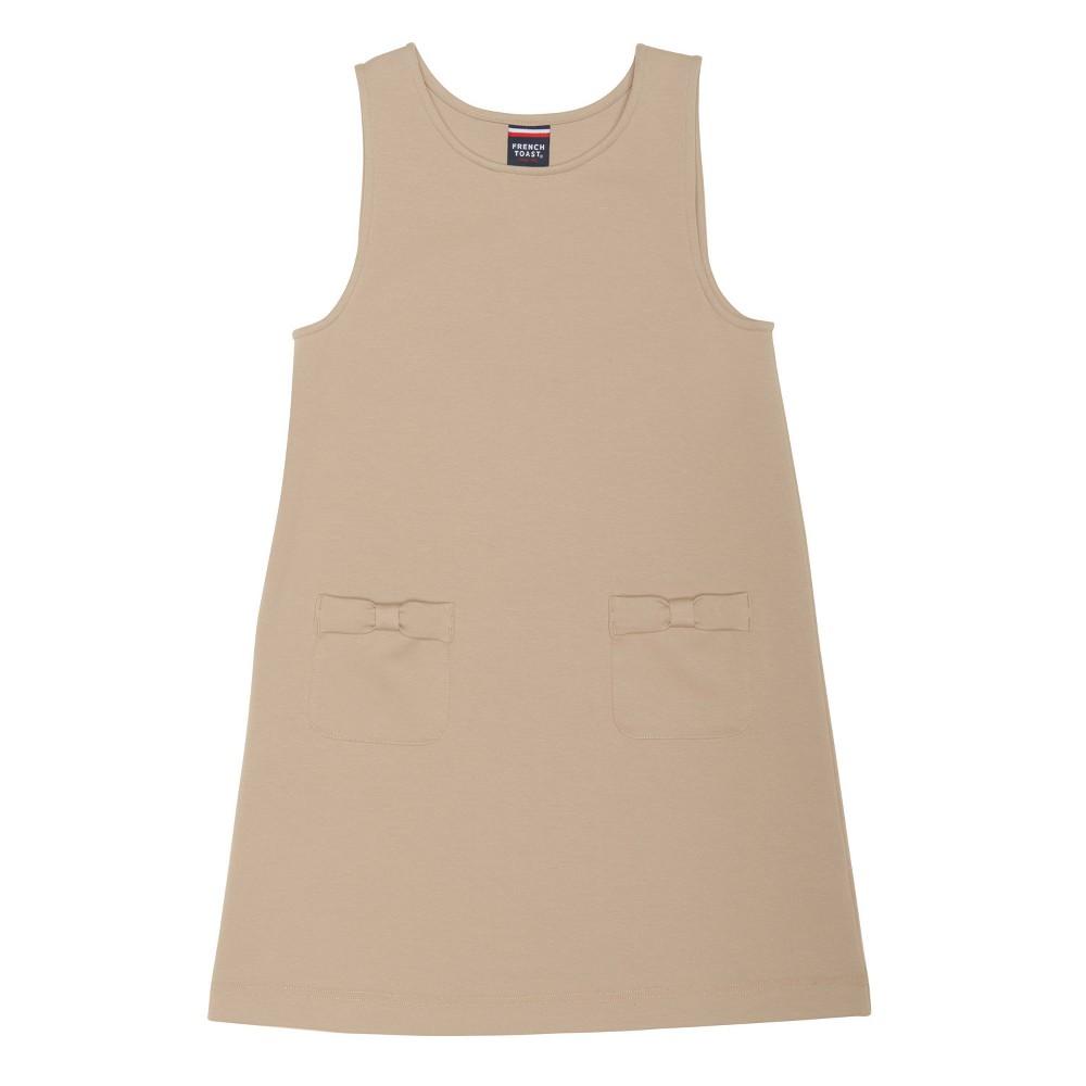 Girls French Toast Ponte Bow Pocket Jumper - Khaki (Green) S, Size: S (6-6X)
