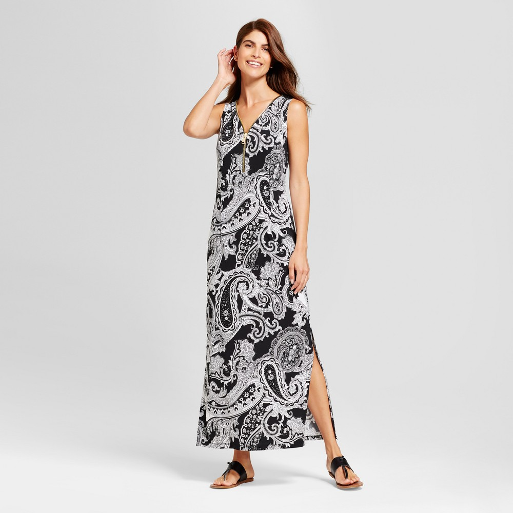 Womens Paisley Printed Zipper Front Tank Dress - Chiasso - Black/White M