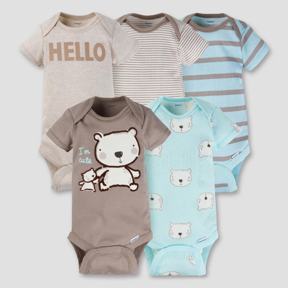 Baby Boys 5pk Onesies Bodysuit - Bear Brown 3-6M - Gerber