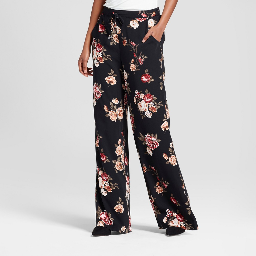 Womens Printed Palazzo Pants - Xhilaration (Juniors) Black Floral L