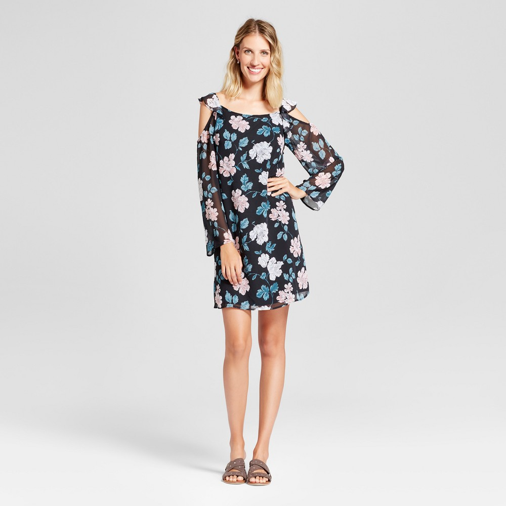 Womens Floral Ruffle Cold Shoulder Dress - Merona Black Floral M