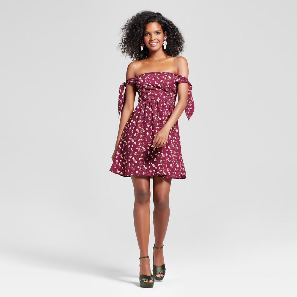 Womens Knot-sleeve Fit & Flare Dress - Xhilaration (Juniors) Burgundy (Red) XL