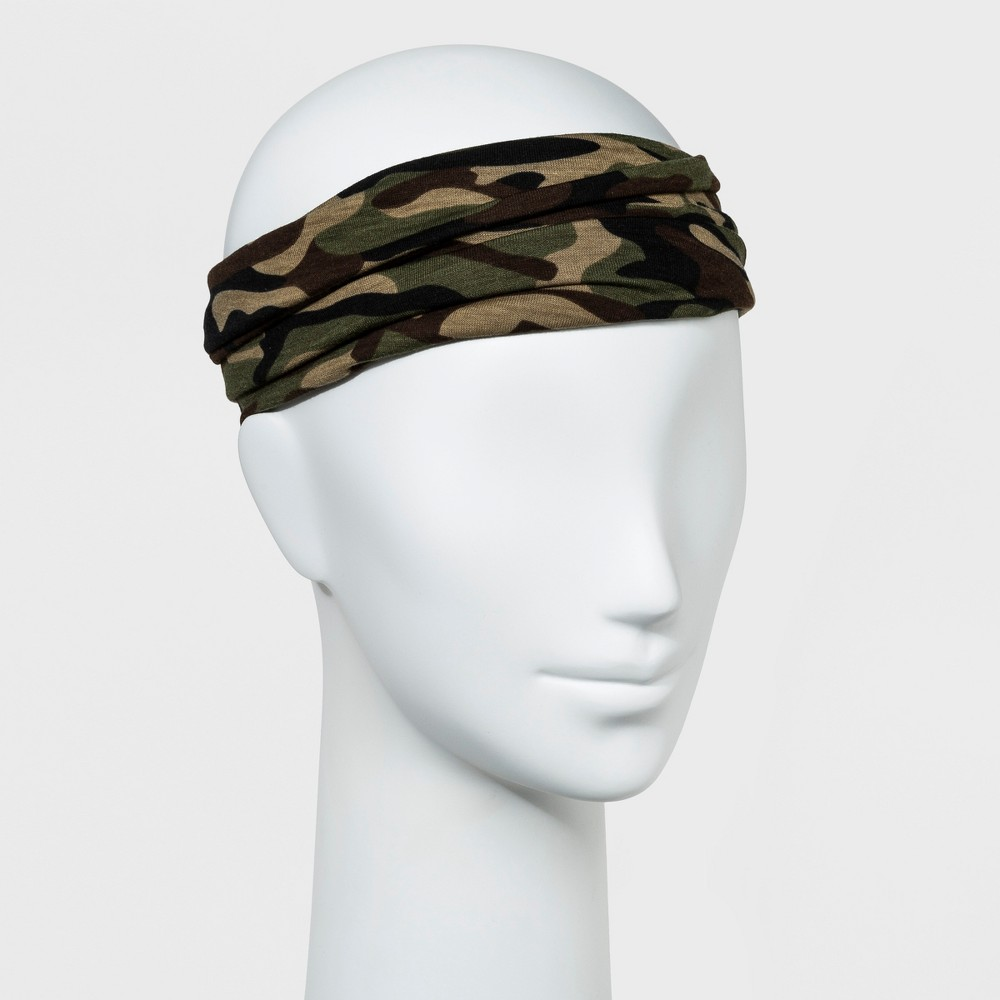 Womens Wide Fabric Head Wrap with Camouflage Print - Green