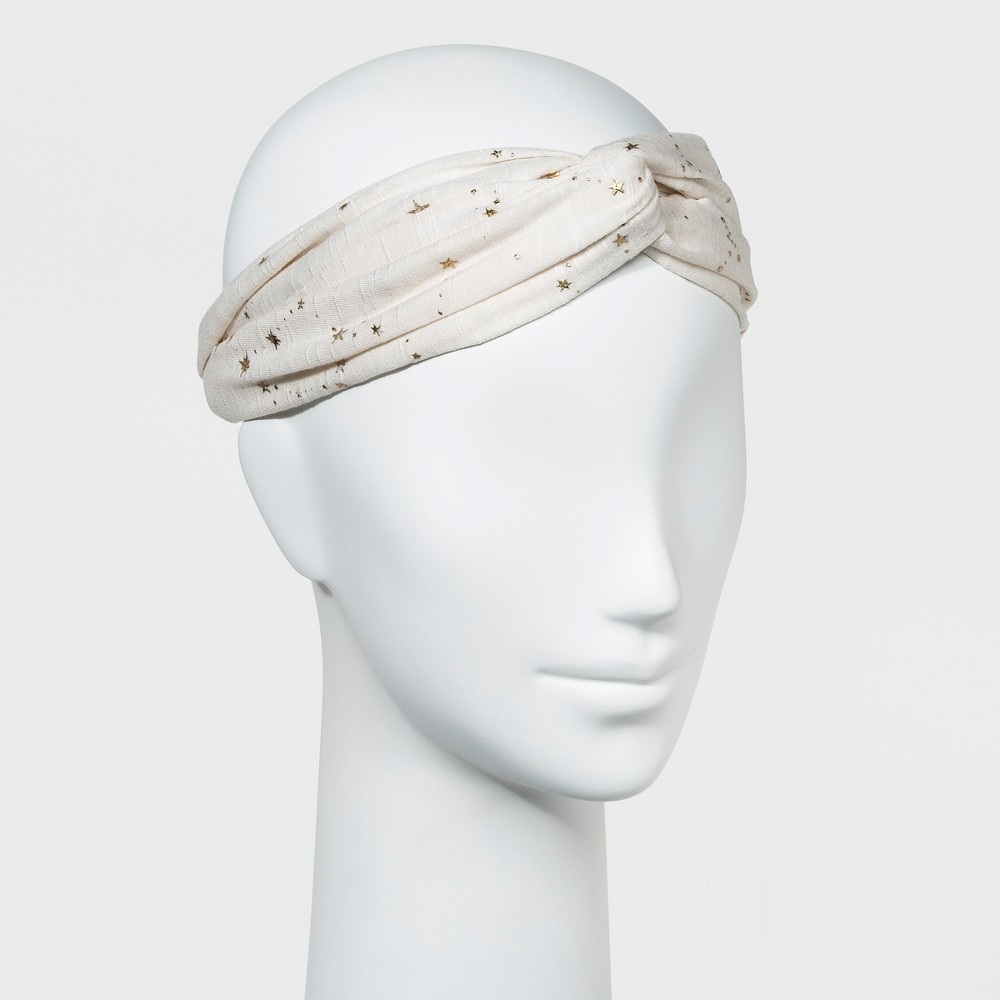 Womens Spacedye Jersey Head Wrap with Twist Front and Metallic PU Stars - Ivory