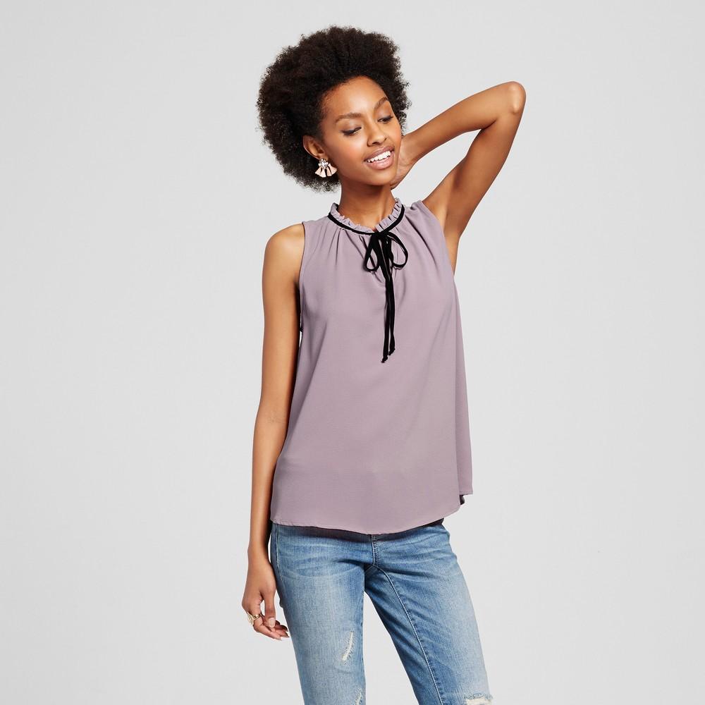 Womens Tie Neck Sleeveless Top - Lily Star (Juniors) Purple M