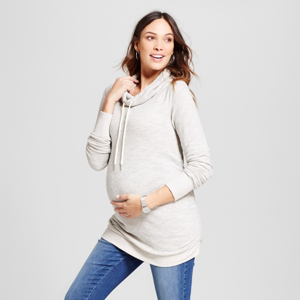 Maternity Textured Cowl Neck Sweatshirt - Isabel Maternity by Ingrid & Isabel Heather Gray M, Womens
