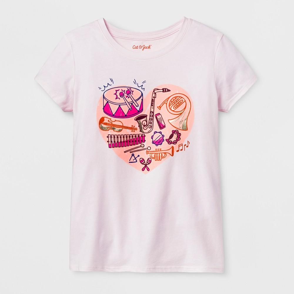 Girls Short Sleeve Music Heart Graphic T-Shirt - Cat & Jack Light Pink XL, Beige