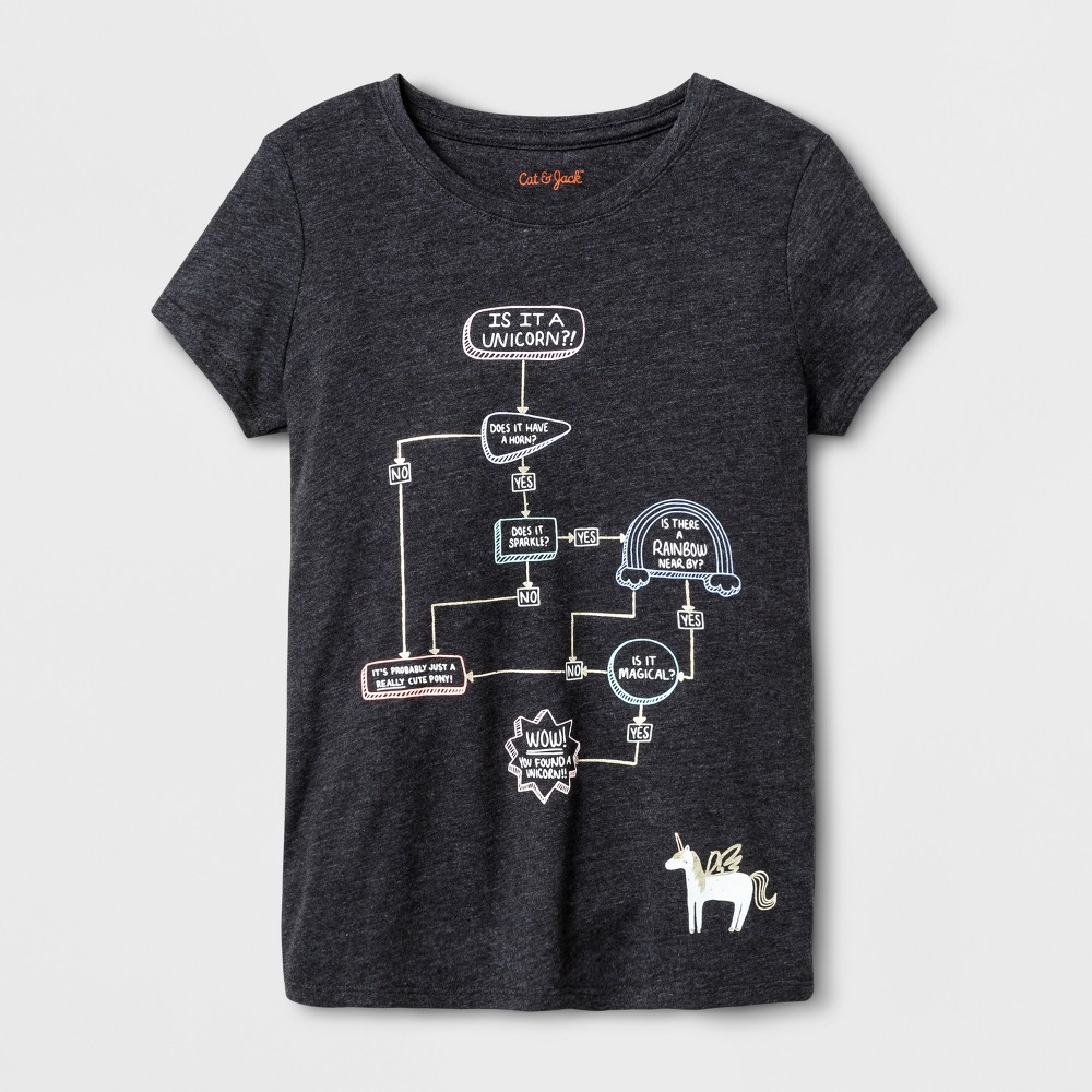 Girls Short Sleeve Unicorn Flowchart Graphic T-Shirt - Cat & Jack Black L