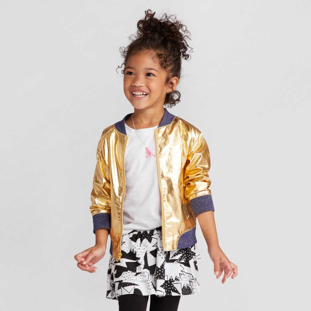 Toddler Girls Long Sleeve Jacket - Cat & Jack Gold 2T