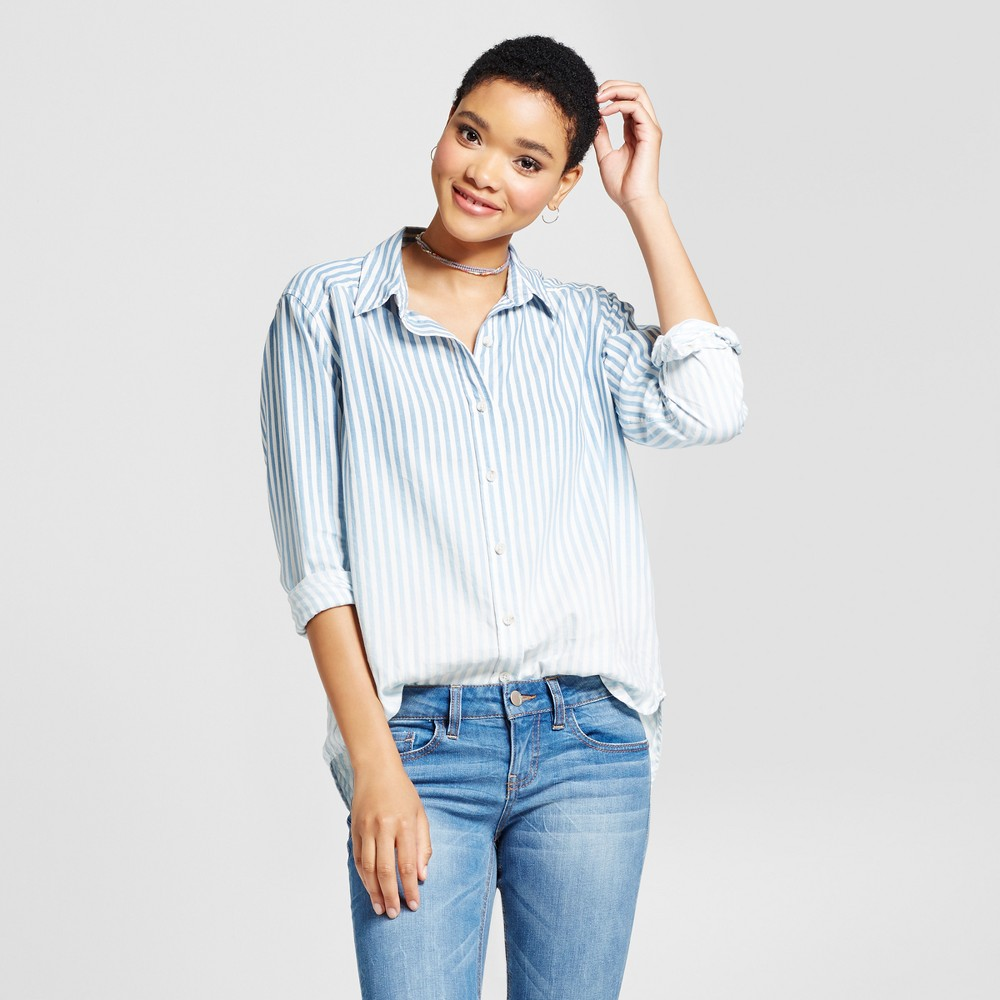 Womens Striped Boyfriend Button Down Shirt - Mossimo Supply Co. Blue XL, Purple