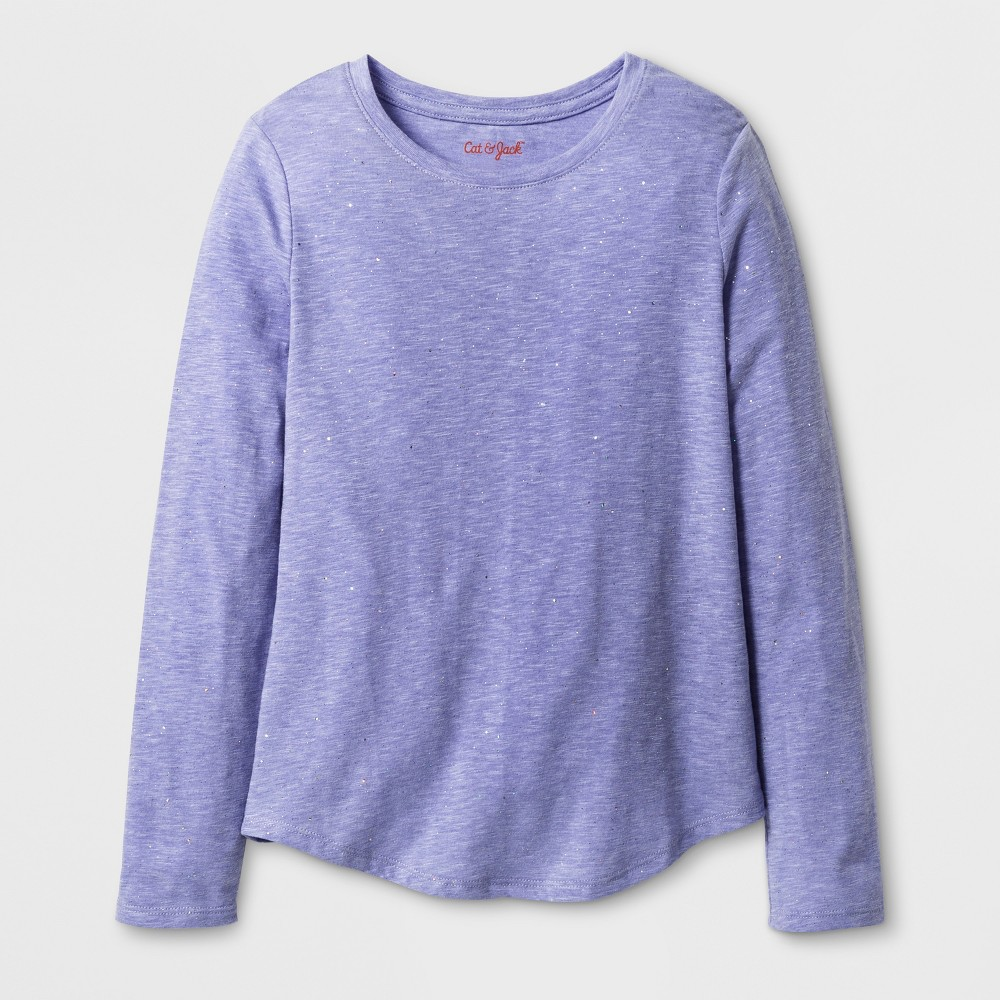 Girls Long Sleeve Favorite Sparkle T-Shirt - Cat & Jack Purple M