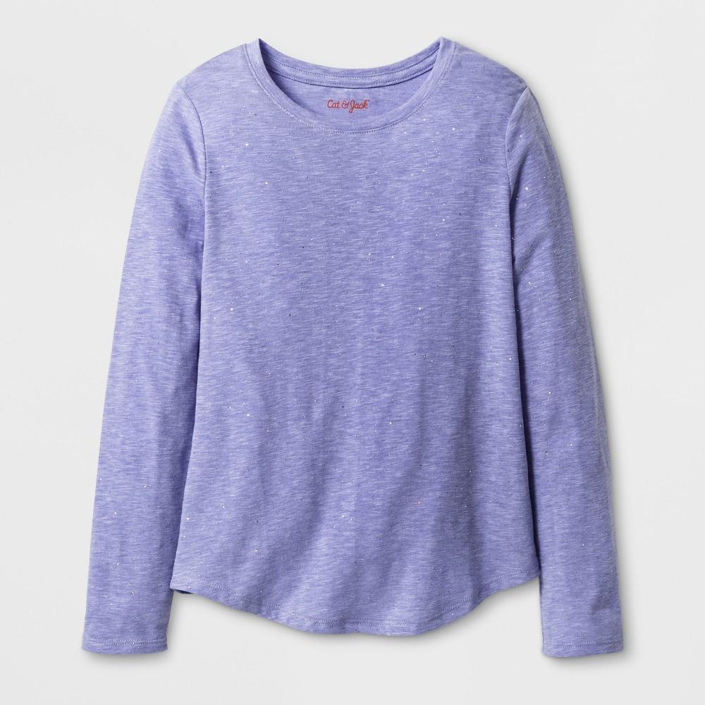 Girls' Long Sleeve Favorite Sparkle T-Shirt - Cat & Jack Purple L