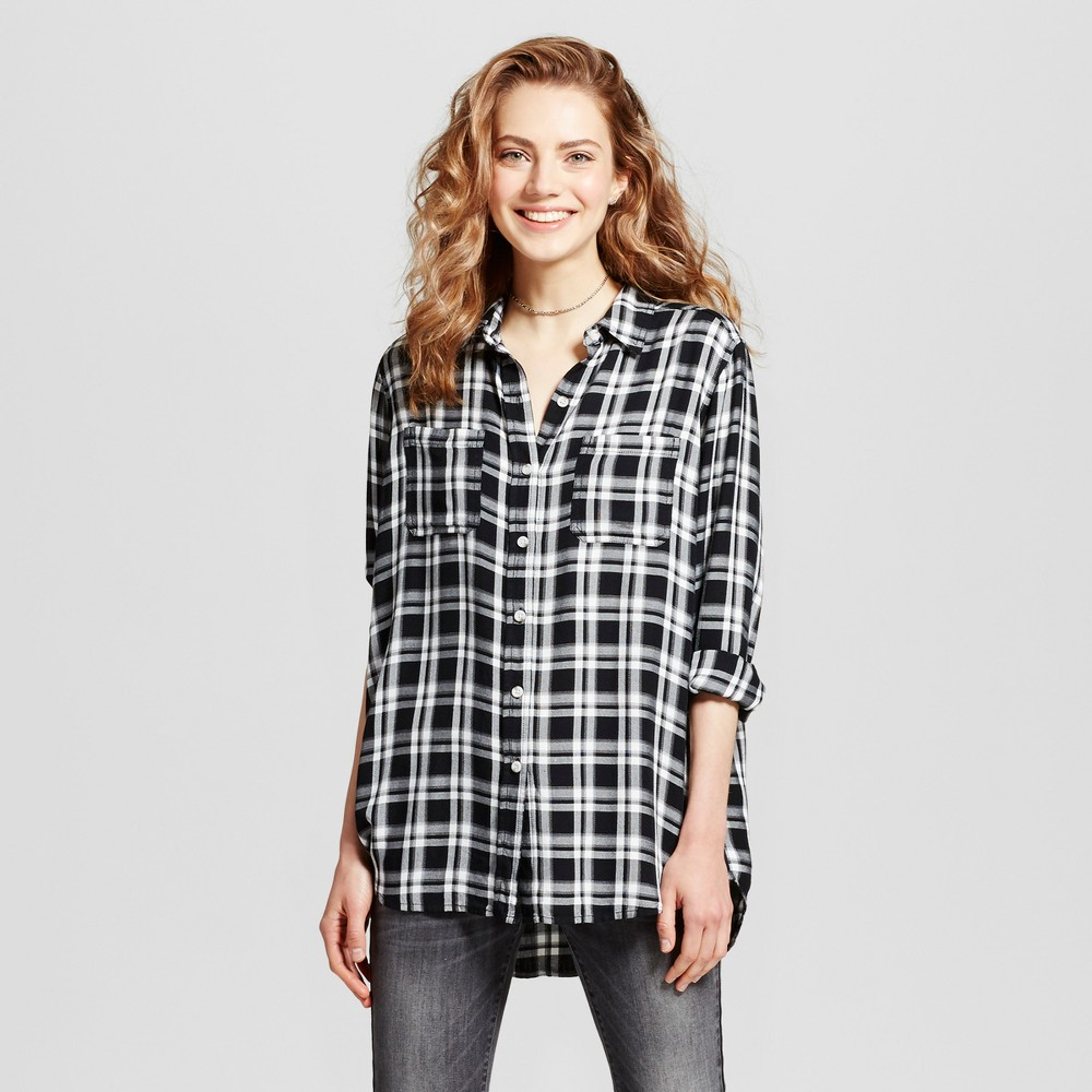 Womens Plaid Boyfriend Button Down Shirt - Mossimo Supply Co. Black XL