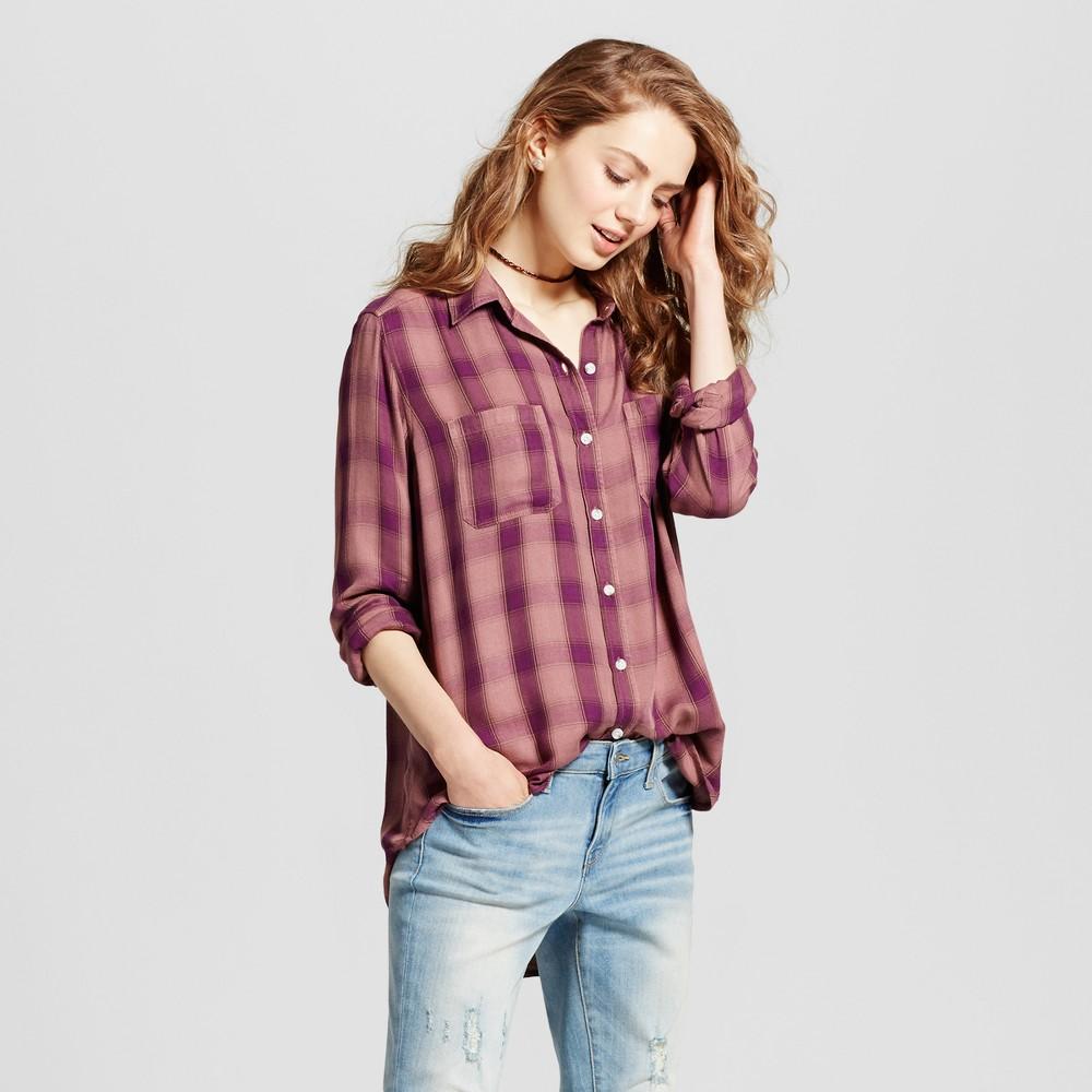 Womens Plaid Boyfriend Button Down Shirt - Mossimo Supply Co. Berry (Pink) M