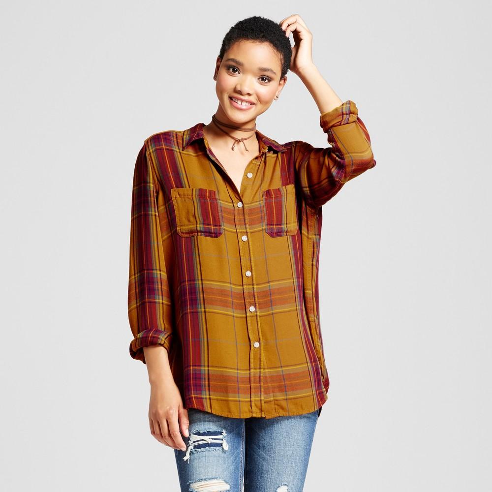 Womens Plaid Boyfriend Button Down Shirt - Mossimo Supply Co. Brown S