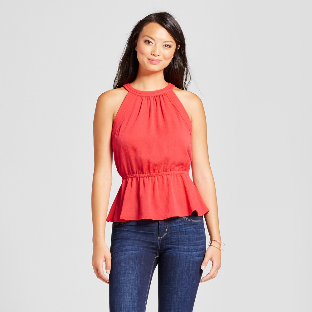 Womens Solid Halter Neck Woven Tank - Isani for Target Poppy L, Red