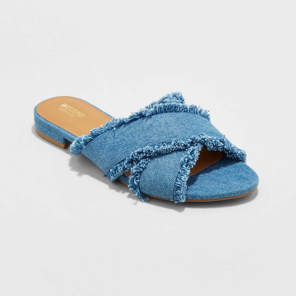 Womens Lola Cross Band Slide Sandals - Mossimo Supply Co Denim Blue 5.5