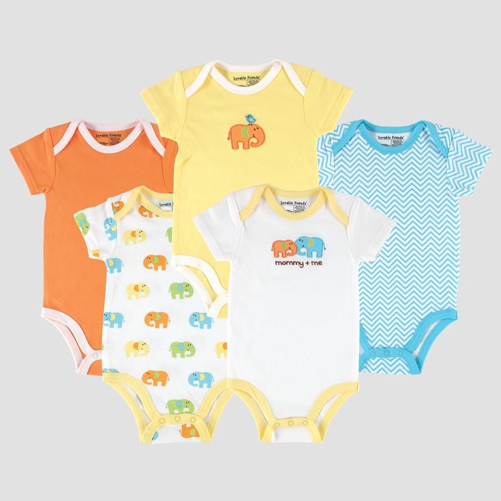 Luvable Friends Baby 5pk Short Sleeve Bodysuit Elephant Set - Yellow 9-12M, Infant Unisex, Size: 9-12 M