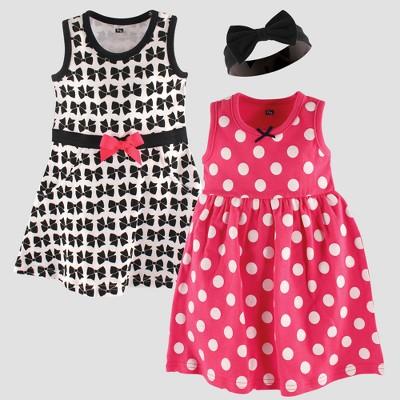 Hudson Baby Girls' 2pk Sleeveless Dress & Bow Headband Set - Black 0-3M
