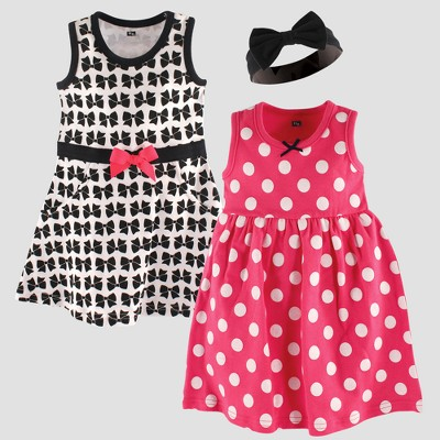 Hudson Baby Girls' 2pk Sleeveless Dress & Bow Headband Set - Black 3-6M