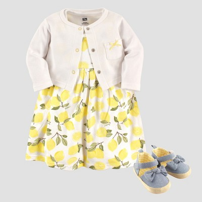 Hudson Baby Girls' Cardigan, Dress & Shoe Lemon Set - White 0-3M