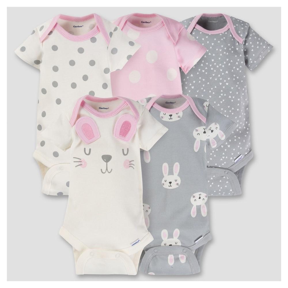 Baby Girls 5pk Onesies Bodysuit - Bunny Pink 6-9M - Gerber