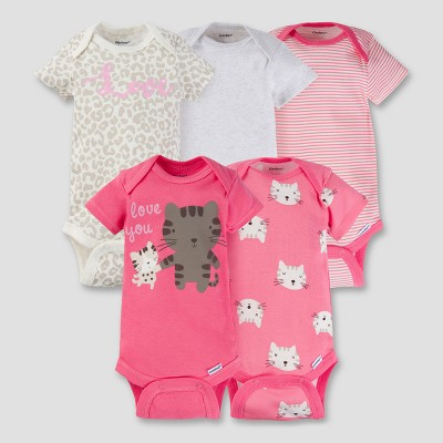 Baby Girls' 5pk Onesies® Bodysuit - Kitty Coral 3-6M - Gerber®
