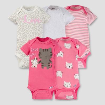Baby Girls' 5pk Onesies® Bodysuit - Kitty 3-6M - Gerber®