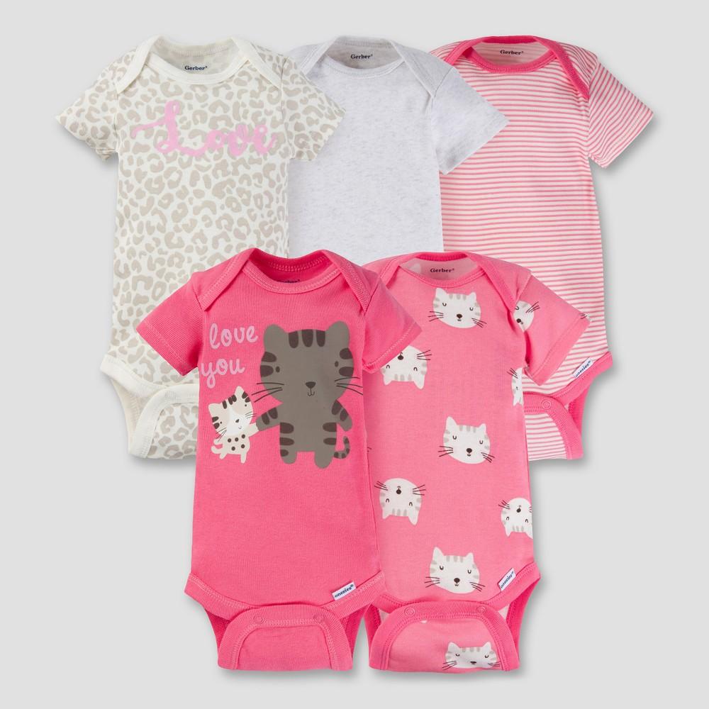 Baby Girls 5pk Onesies Bodysuit - Kitty Coral 3-6M - Gerber, Pink