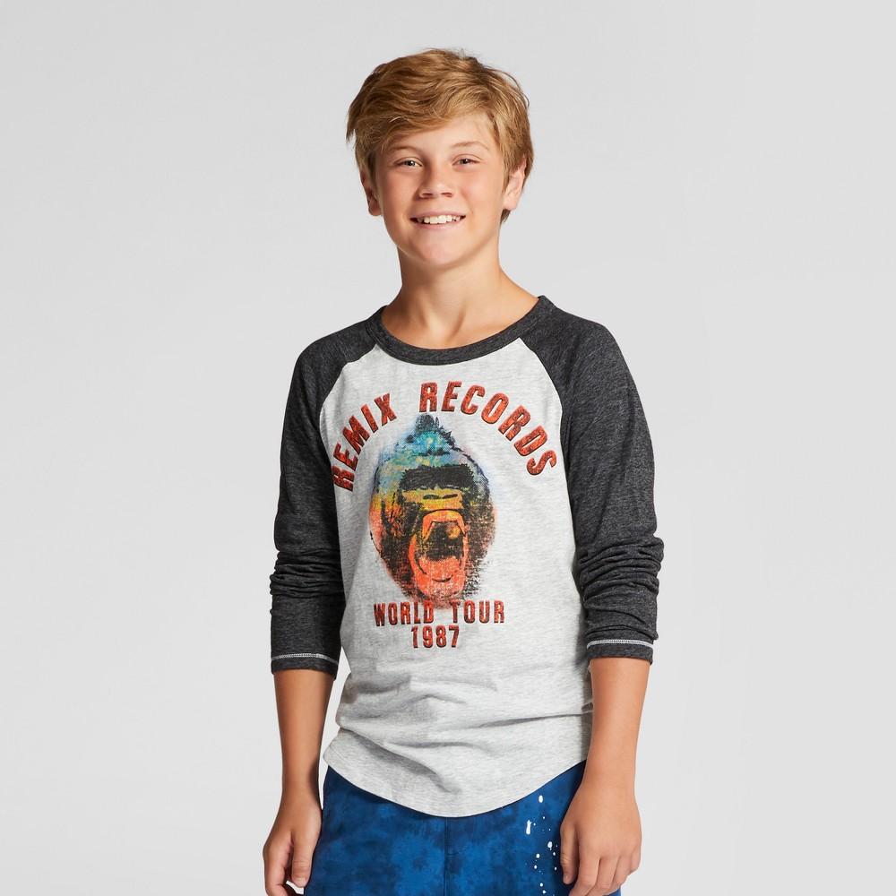 Boys Gorilla Remix Long Sleeve Graphic T-Shirt - Art Class Gray L