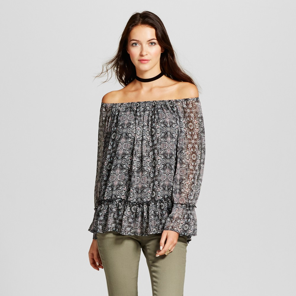 Womens Lurex Stripe Printed Off the Shoulder Top - Knox Rose L, Black