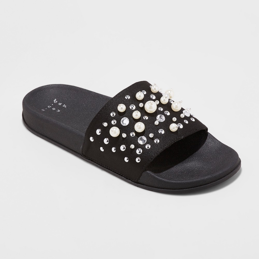 Womens Paris Pearl Slide Sandals - A New Day Black 8