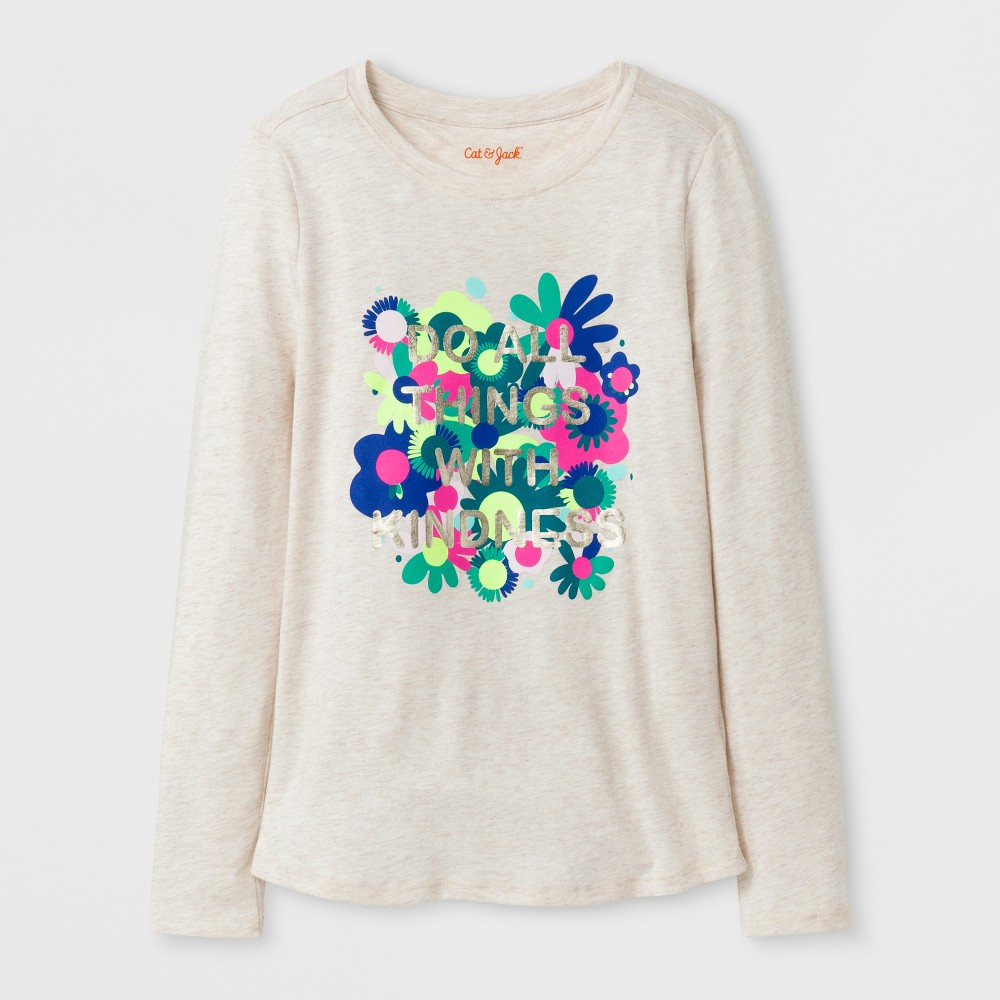 Girls Long Sleeve Kindness Graphic T-Shirt - Cat & Jack Oatmeal Heather XS, Beige