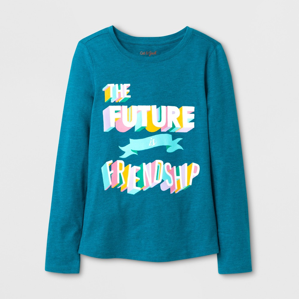 Girls Long Sleeve Friendship Graphic T-Shirt - Cat & Jack Teal S, Blue