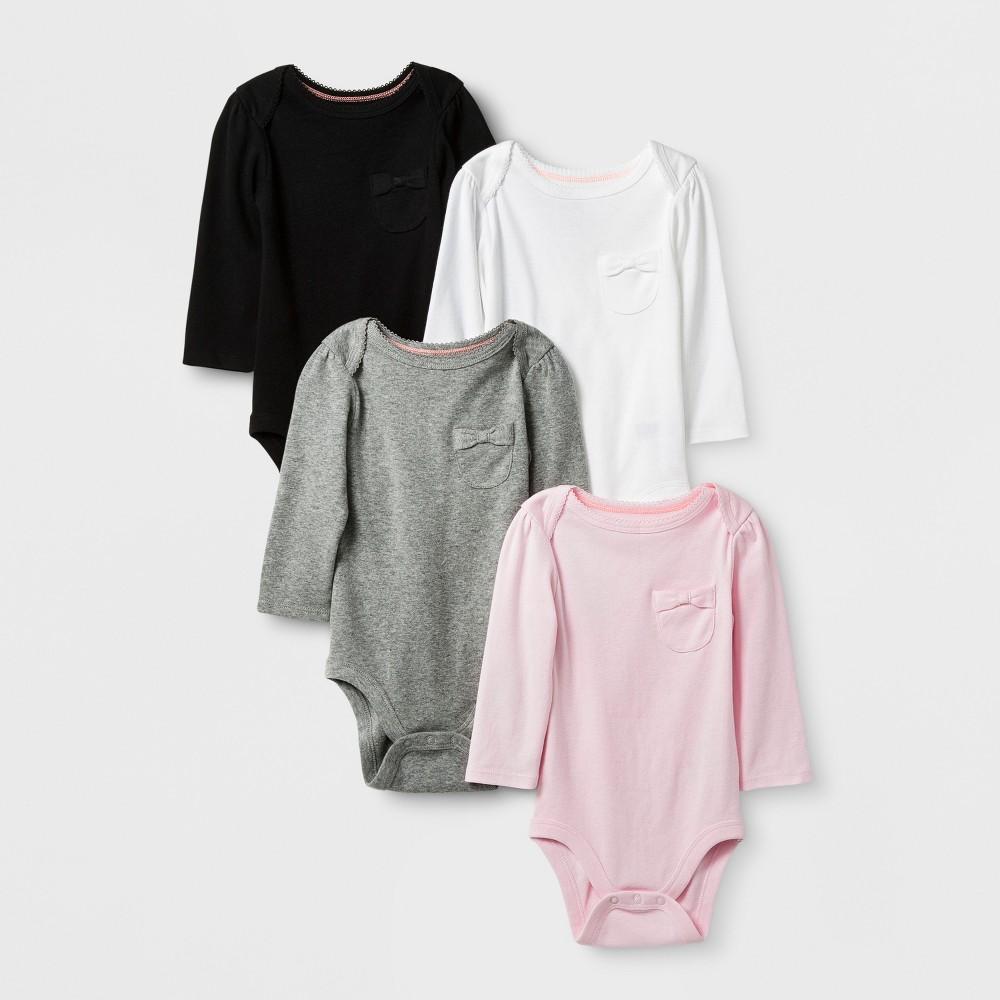 Baby Girls 4pk Long Sleeve Bodysuits Cloud Island - Pink Lemonade 6-9M