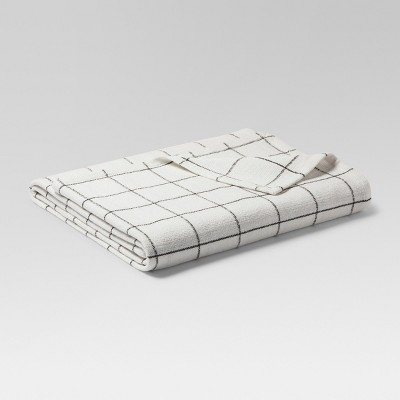Soft Textured Blanket (Twin)Window Pane Pattern White & Hot Coffee - Threshold™