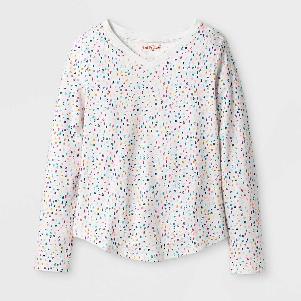 Girls' Long Sleeve Dot Print Favorite T-Shirt - Cat & Jack Cream XL, White