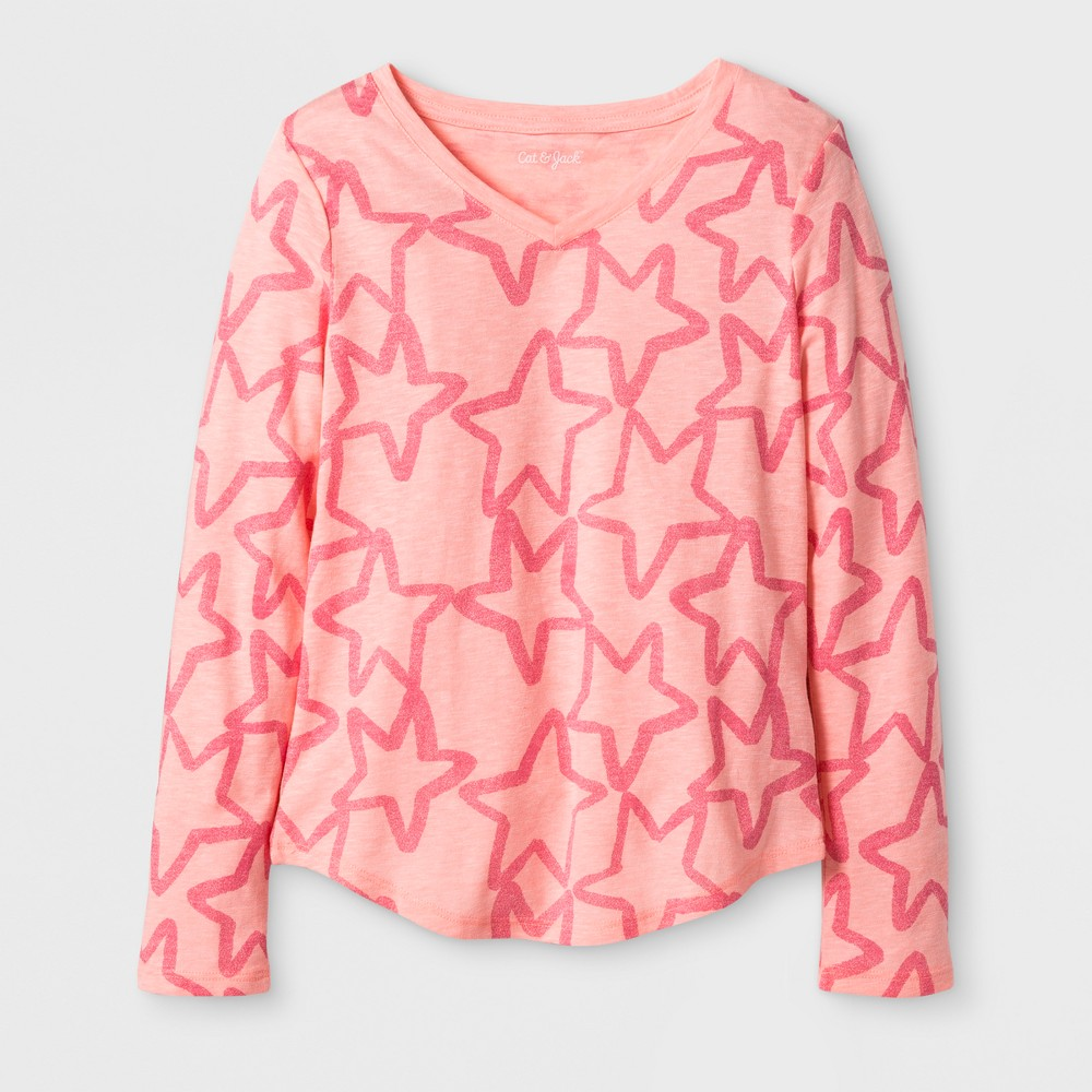 Girls Long Sleeve Star Favorite T-Shirt - Cat & Jack Coral S, Pink