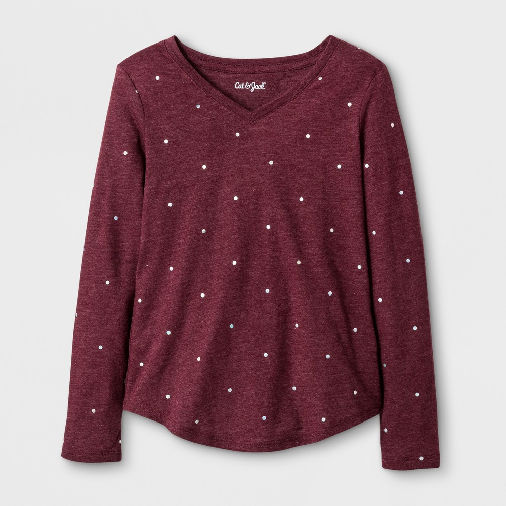 Girls Long Sleeve Shine Dot Favorite T-Shirt - Cat & Jack Burgundy XS, Red
