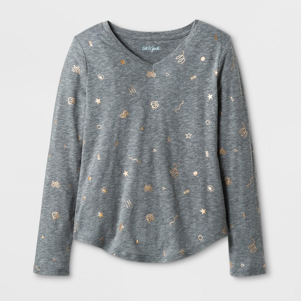 Girls Long Sleeve Doodle Print Favorite T-Shirt - Cat & Jack Heather Gray XL