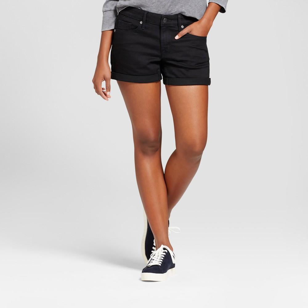Womens Mid Rise Midi Shorts - Mossimo Black Wash 18